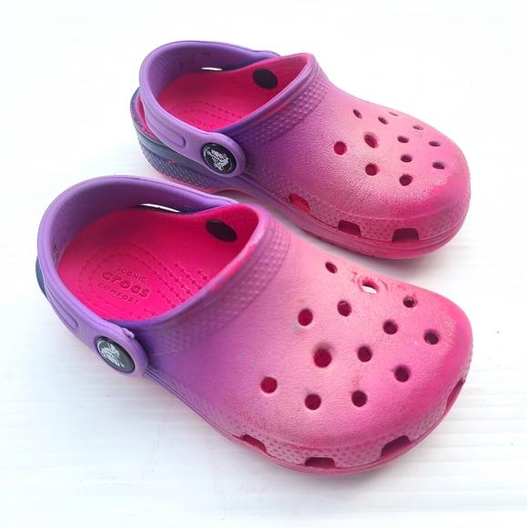 Crocs Girls Tiedye Pink Purple Sandals